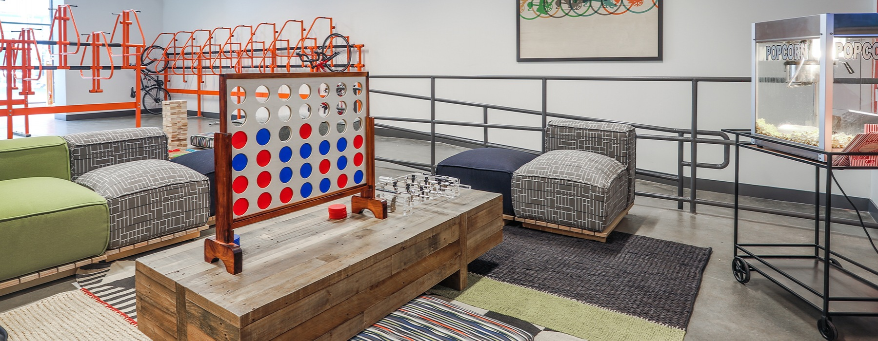 Game Room with lounge seating and games